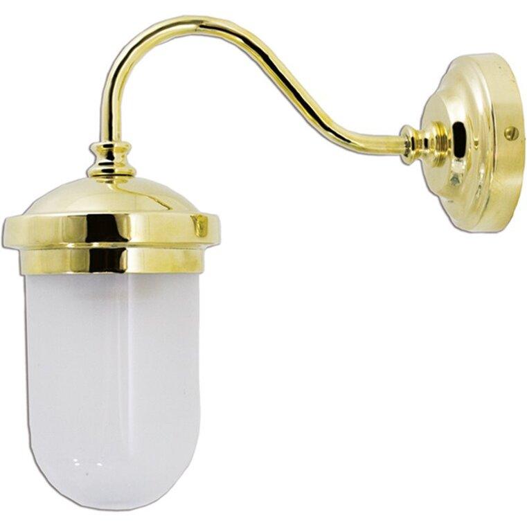 Applique per interno in ottone lucido con vetro a fusoliera