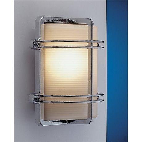 Lampada da parete rettangolare in ottone cromato con griglia 26 cm