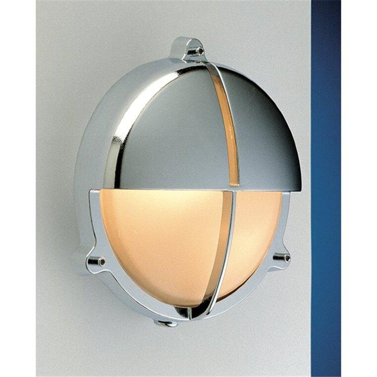 Applique in ottone lucido cromato per esterno con visiera e 3 piedini di fissaggio