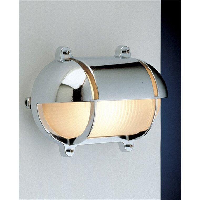 Lampada applique per esterno in ottone cromato ovale con visiera 27 cm