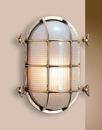 Lampada ovale con griglia  in ottone lucido 19 cm x 13 cm