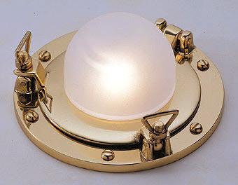 Oblò in ottone lucido per lampade alogene