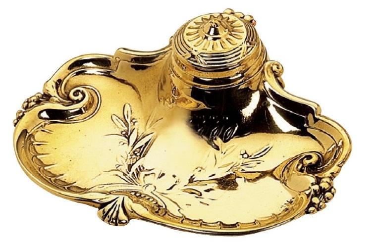 Calamaio in ottone lucido riproduzione da scrivania fine '800