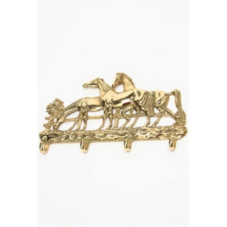 Portachiavi da parete ottone con cavalli