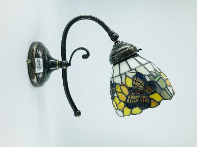Applique da parete in ottone con vetro stile tiffany a girasoli
