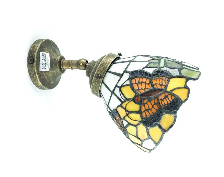 Applique con coppetta paralume  in vetro Tiffany con girasoli