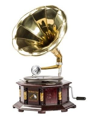 Grammofono in legno  riproduzione HIS MASTER'S VOICE con tromba ottone