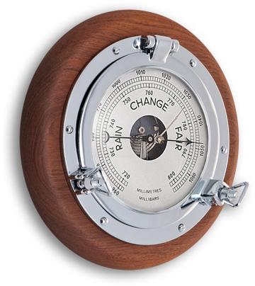 Barometro in ottone cromato e legno di teak diametro 23 cm