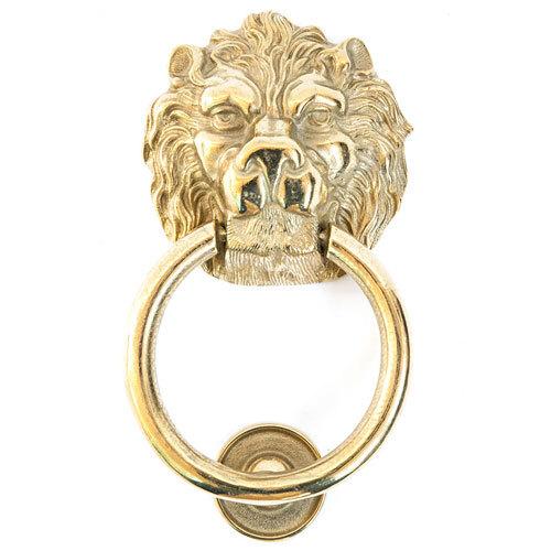 Batacchio per portoni in ottone lucido testa leone
