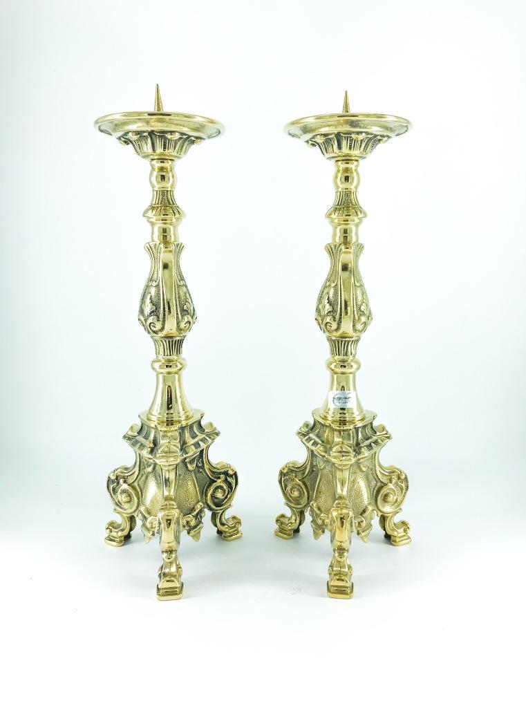 Coppia Candelabri in ottone lucido stile barocco 40 cm