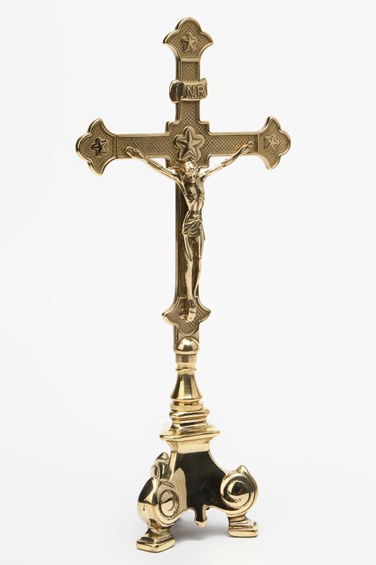 Crocifisso in ottone lucido stile impero per altare