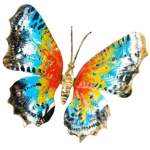 Farfalla in ferro battuto dipinta a mano grande