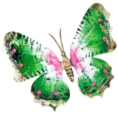 Farfalla in ferro battuto dipinta a mano misura grande colorata