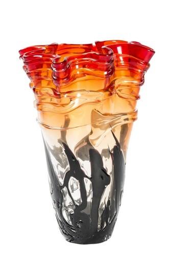 Vaso centrotavola portafiori in vetro soffiato rosso fuoco altezza 28 cm