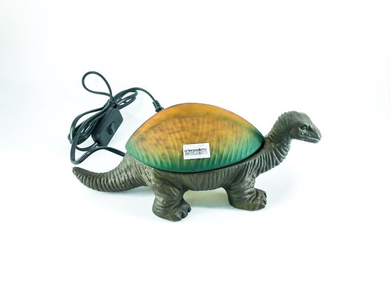 Lampada a dinosauro in ottone e vetro