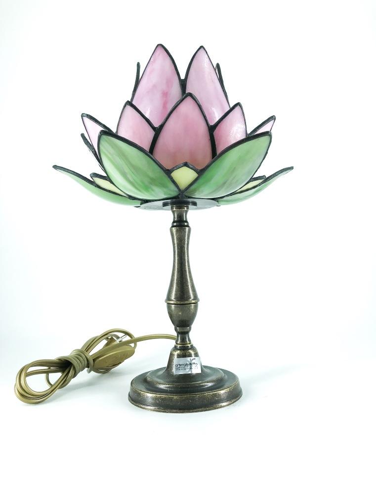 Lampada da tavolo in ottone con vetro a tulipano rosa tiffany