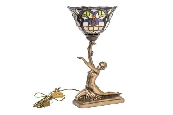 Lampada da tavolo in stile Tiffany con Ballerina da poggiare