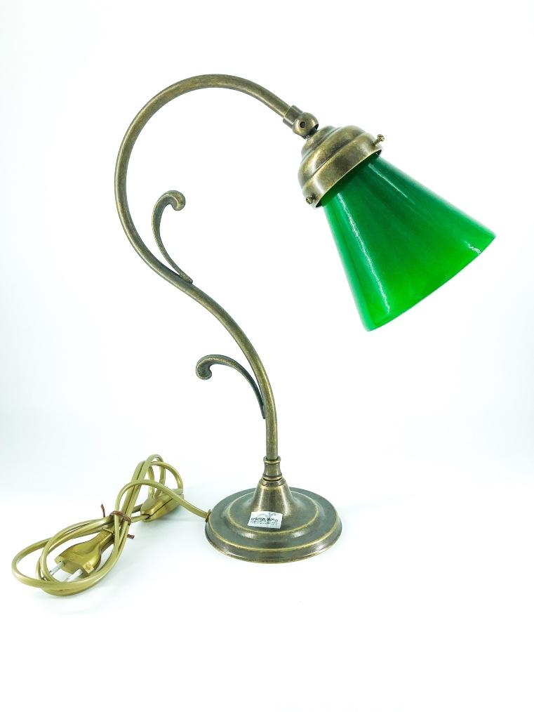Lampada da tavolo doppio riccio ottone con vetro verde