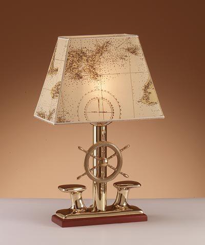 Lampada da tavolo in ottone lucido con bitte e paralume in pergamena