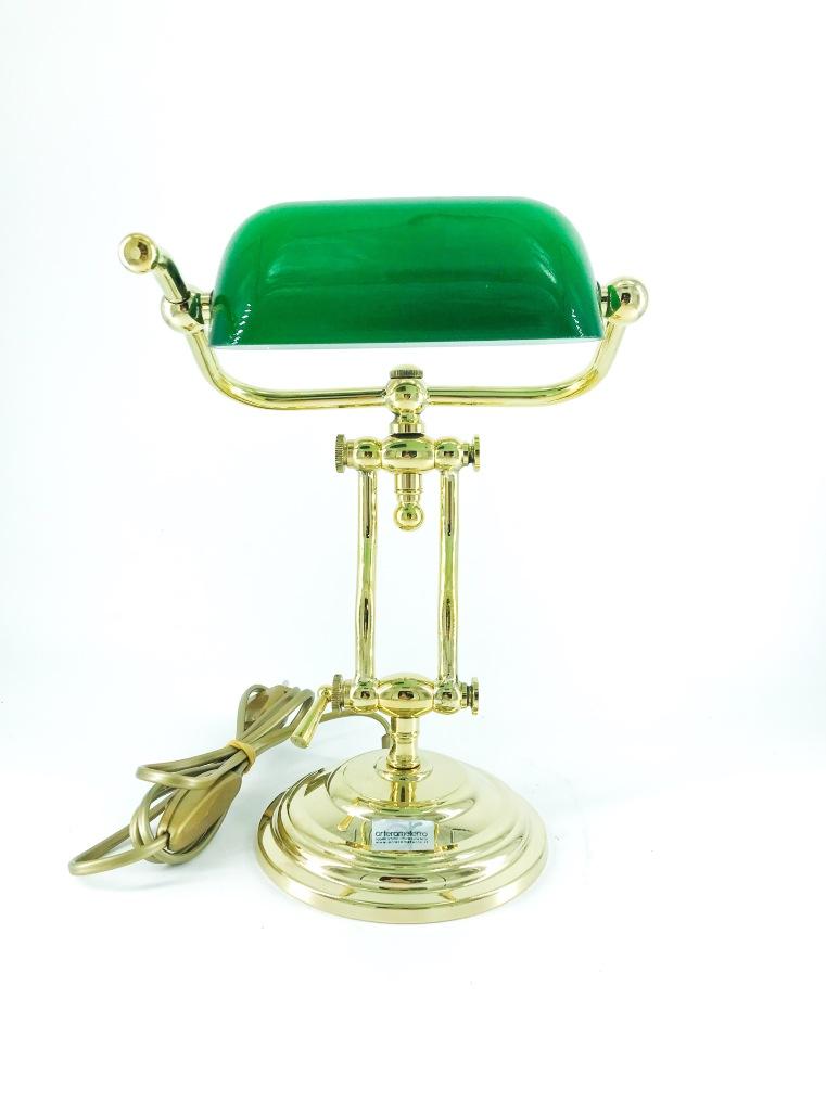 Lampada ministeriale ottone lucido 31 cm con vetro verde