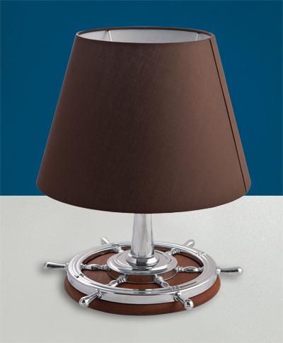 Lampada da tavolo in ottone cromato con base in teak a timone