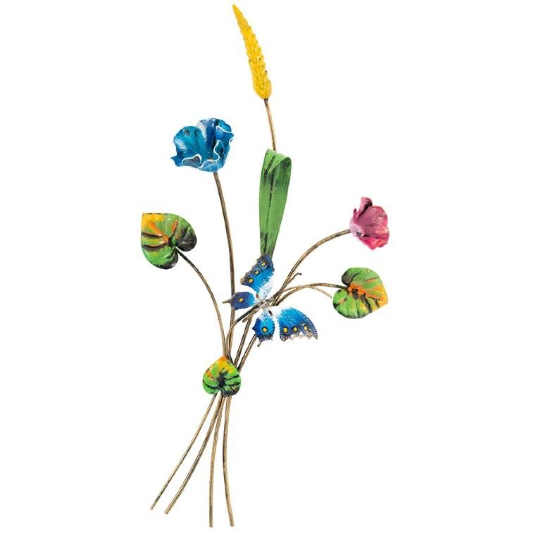 Mazzo di fiori in ferro con farfalla e spiga