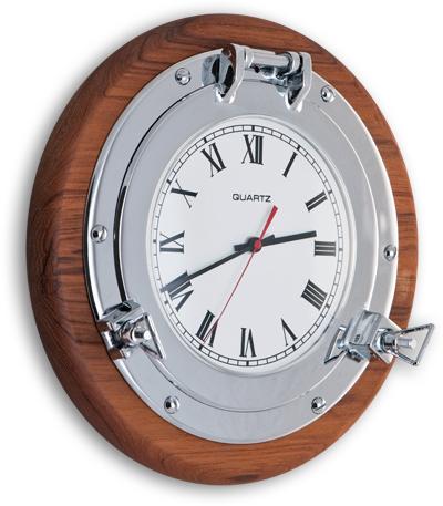 Oblò in ottone cromato con orologio su base in TEAK diametro 32 cm