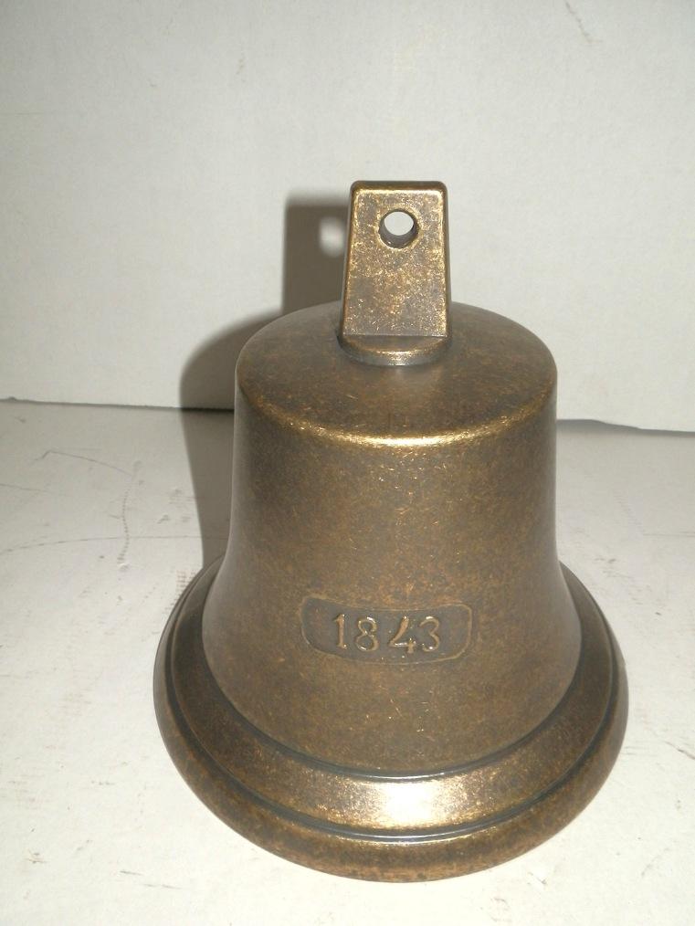 Campana in ottone brunito grande 21,5 cm 1843