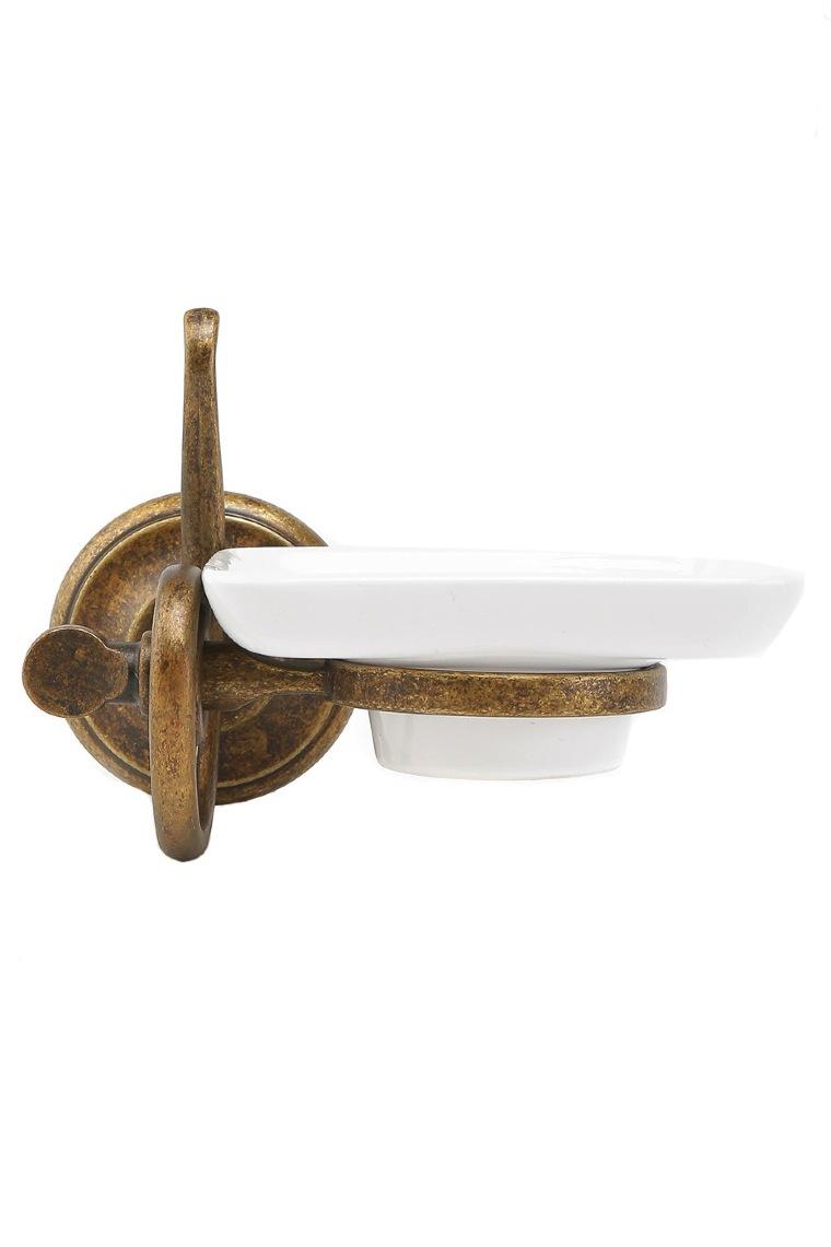 Portasapone da parete in ottone brunito con supporto in ceramica serie onda