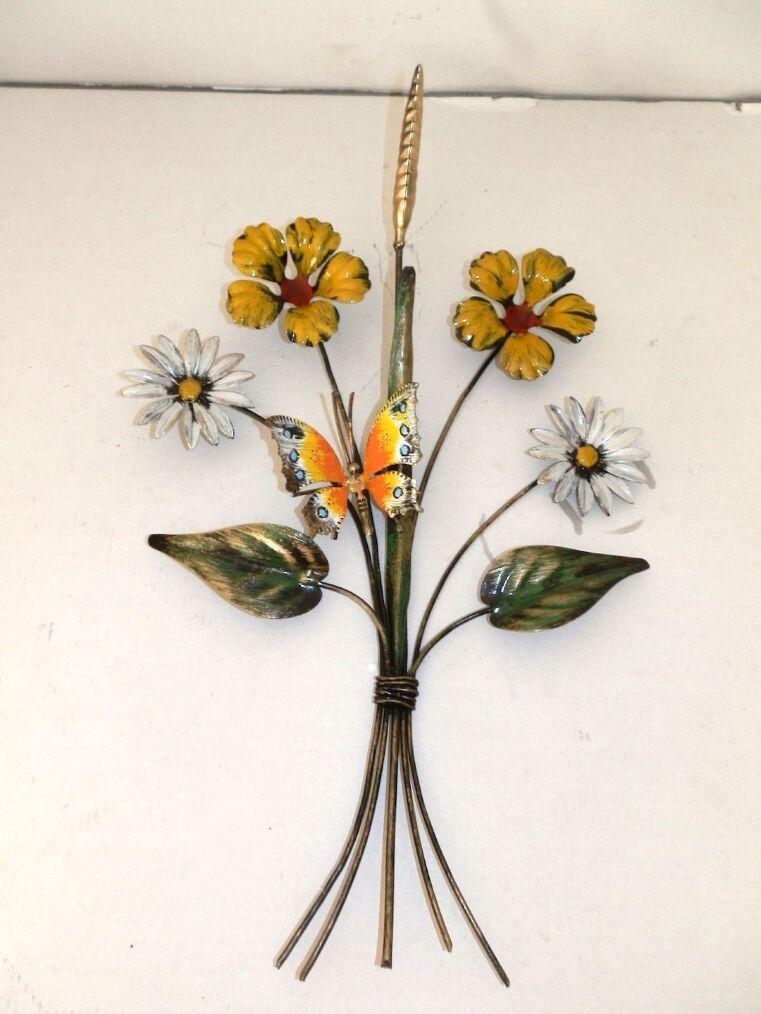 Rametto con Farfalla in Ferro con fiori da parete Decorativo