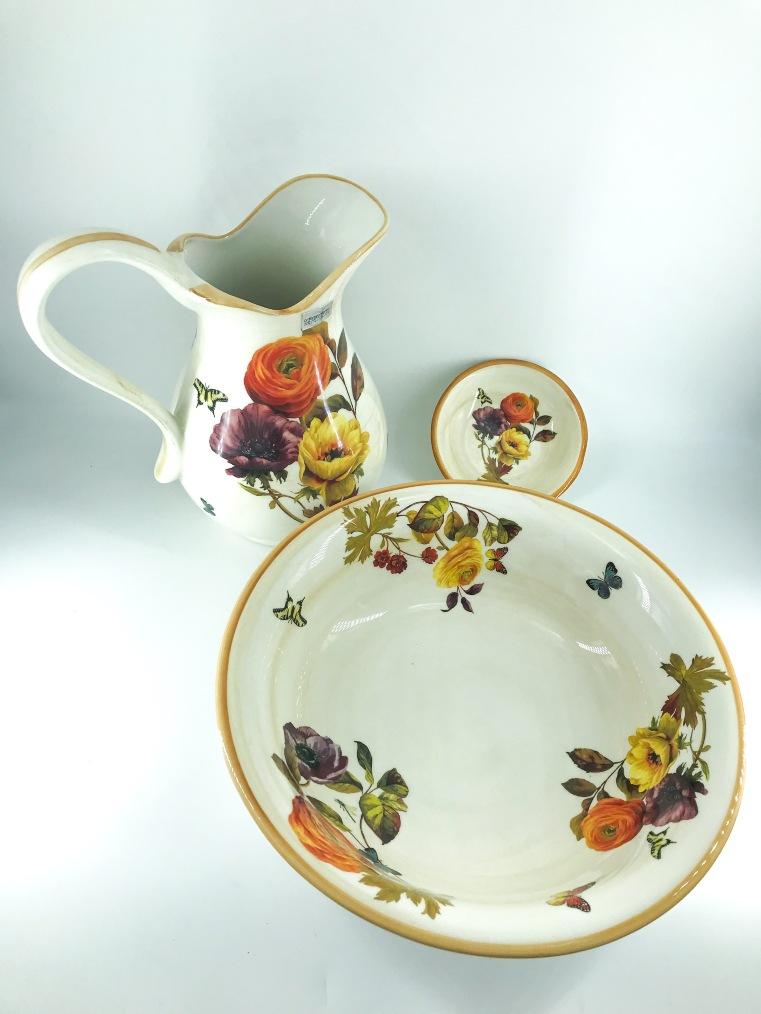 Set toilette lavabo brocca catino piattino in ceramica Toscana Elegance