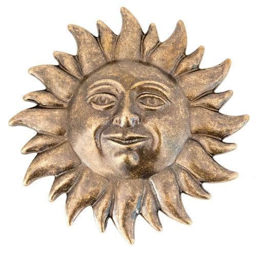 Sole decorativo in ottone anticato da parete 24 cm