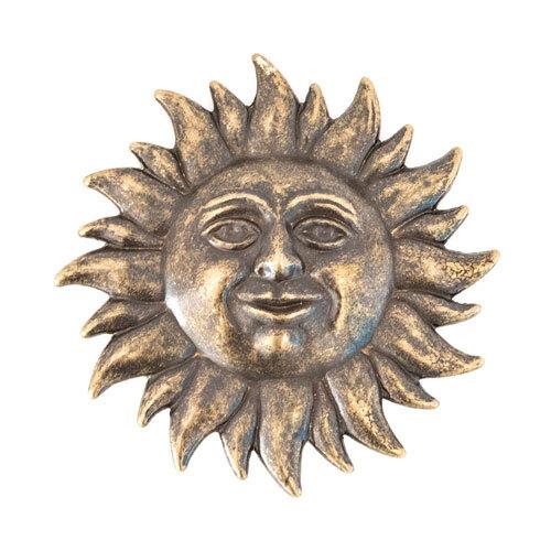 Sole decorativo da parete in ottone anticato 15 cm