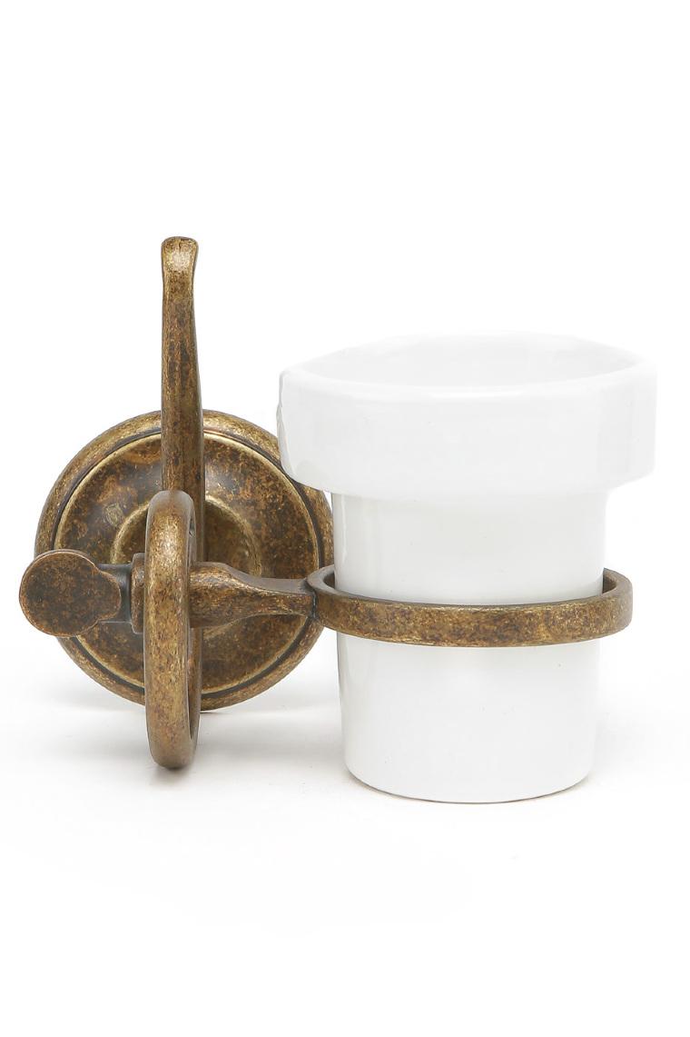 Portaspazzolino da parete in ottone brunito con contenitore in ceramica serie onda