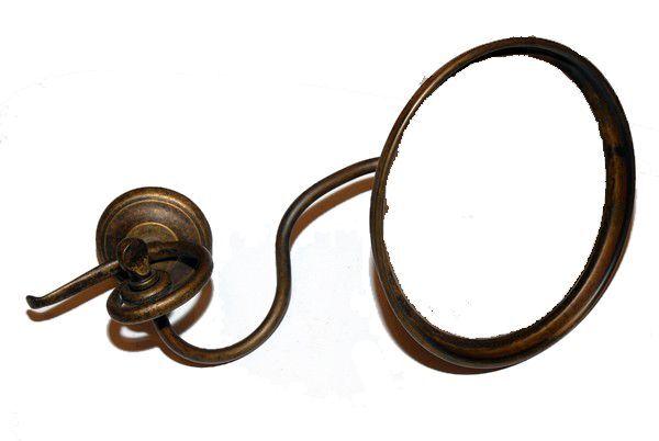 Specchio orientabile da parete modello onda in ottone brunito