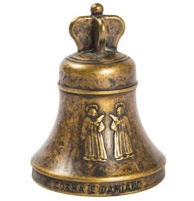 Campanello Campana da tavolo Corona Ottone brunito Santi COSMA E DAMIANO